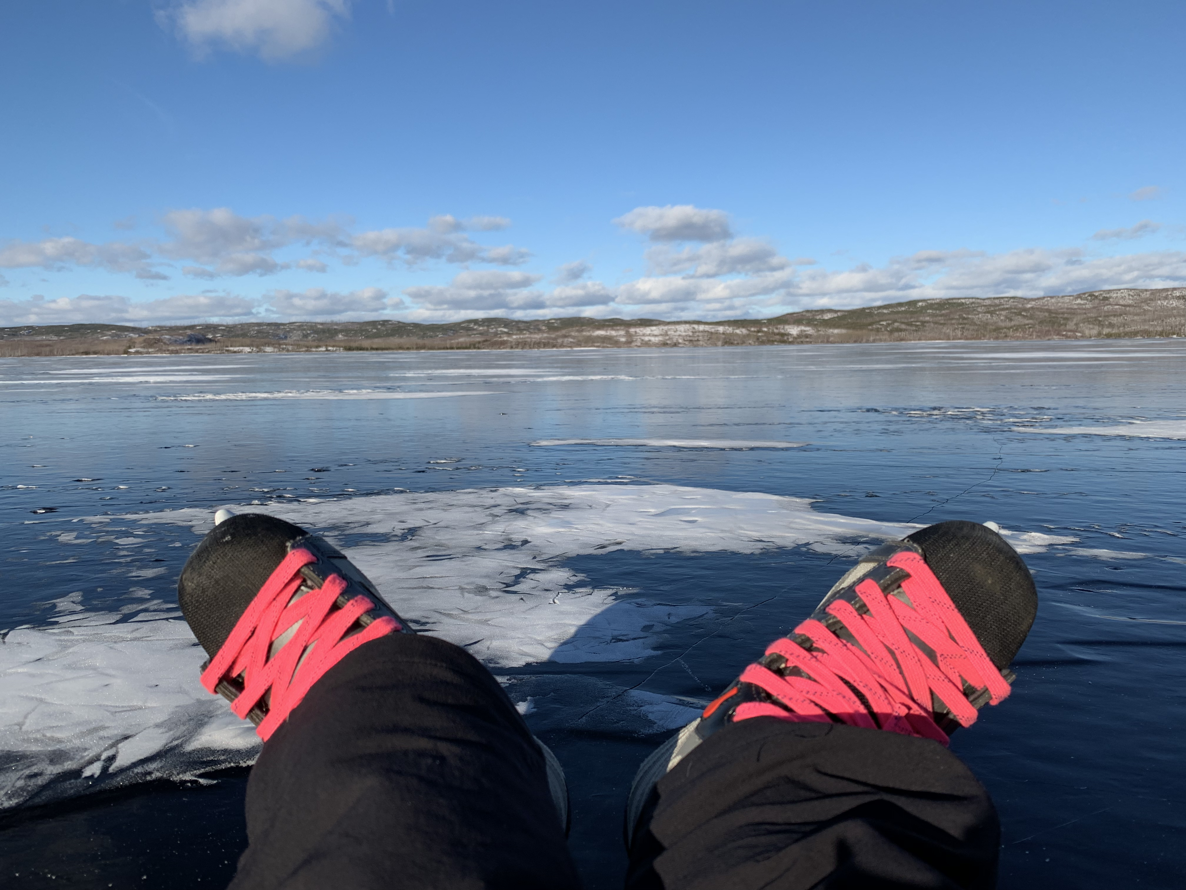 Hello Canada! Sitting on the ice looking at our friendly neighbors border.