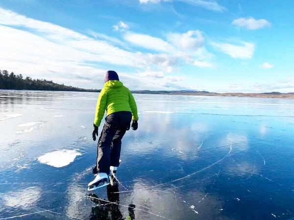 Perfect black ice for skating on Gunflint Lake